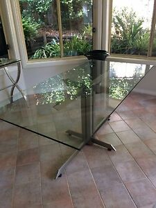 Glass Table with Brushed Metal Base Beecroft Hornsby Area Preview