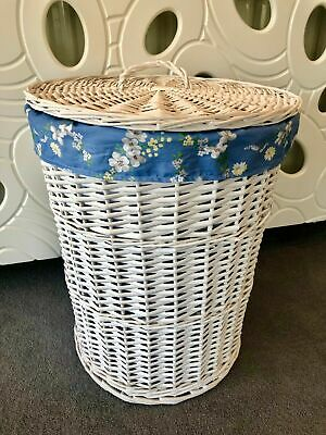 Doppel-weidenkorb (Rund Rattan Weiß Doppel Weidenkorb Aufbewahrungs Behälter mit Deckel Blau Blumen)