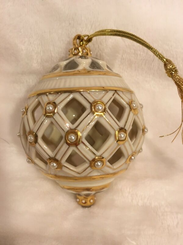 Lenox Florentine and Pearl Ball Christmas Ornament China Porcelain With Box
