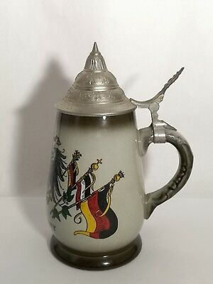 KING Old Germany Coat of Arms Hand Made & Painted Beer Stein w/ Lid 410 1 / 2 2 Old Germany Stein