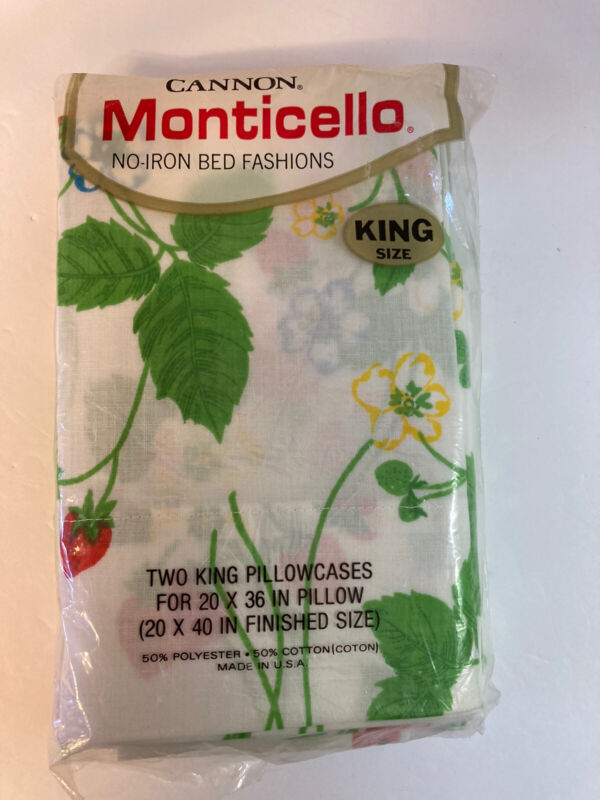 "Vtg Cannon Monticello Strawberry Two King Pillowcases 20""x40"" New"