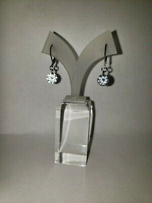 Stainless Steel Small Lever Back Clear CZ Dangle Earrings -