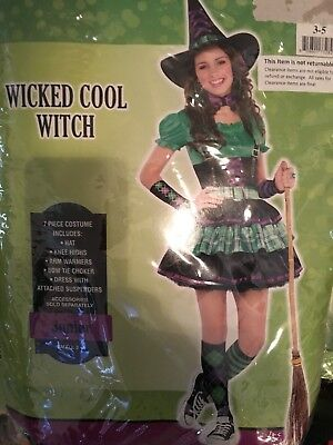 Wicked Cool Witch Halloween costume 7  Piece Juniors Small