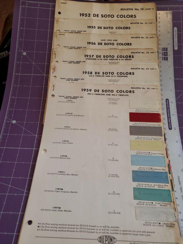 1952/1955/1956/1957/1958/1959 DeSoto paint chip color sheet lot