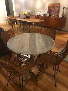 Round Timber Dropside Table