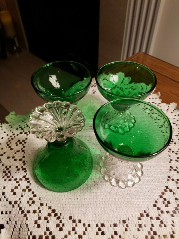 """Vintage Set Of 4 Anchor Hocking FOREST  Green Boopie  Glasses 3 5/8"""" tall x 3"""""""
