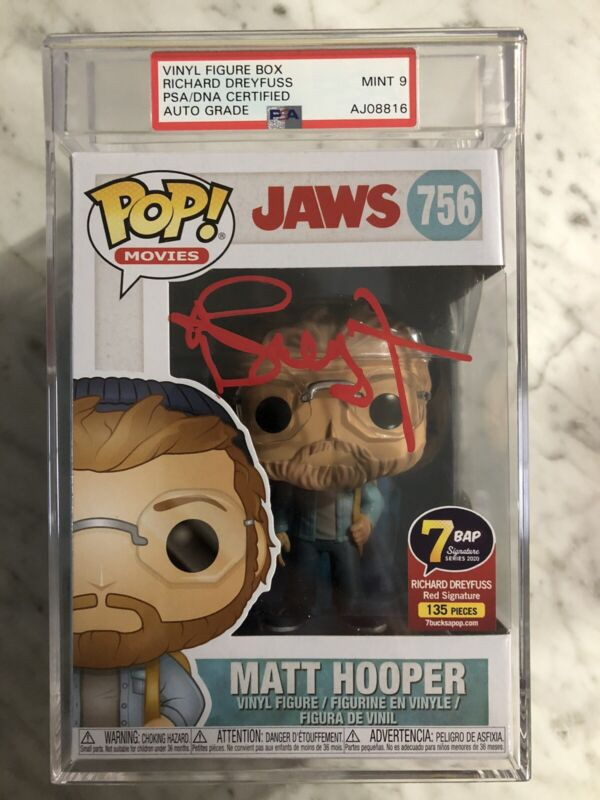 Funko Pop! Signed Richard Dreyfuss Jaws 7BAP Signature Series JSA & PSA Mint 9