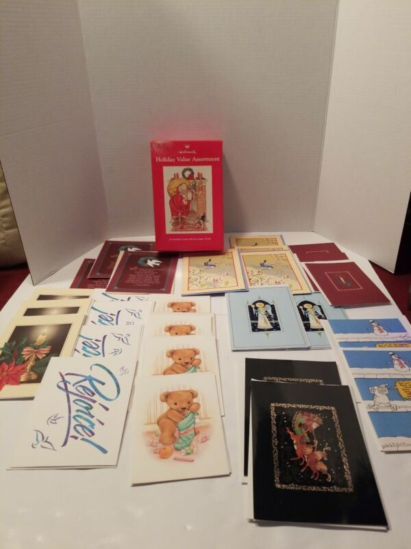 27 VINTAGE GORGEOUS HALLMARK CHRISTMAS GREETING CARDS, New Open Box, Rare Find!