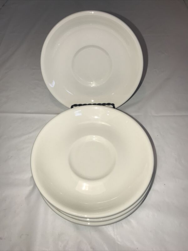 """Vintage Buffalo China Restaurant Saucers White Set of 4 Made In USA 6"""""""