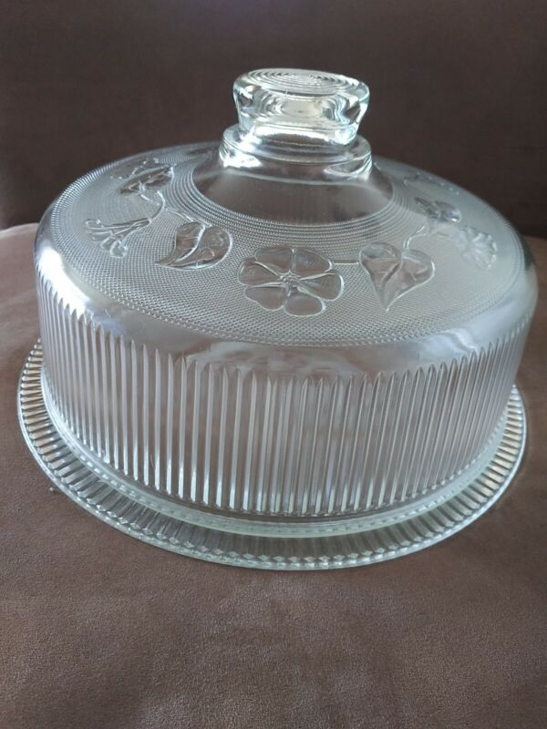 Vintage Depression Glass Floral Dome Covered Cake Plate