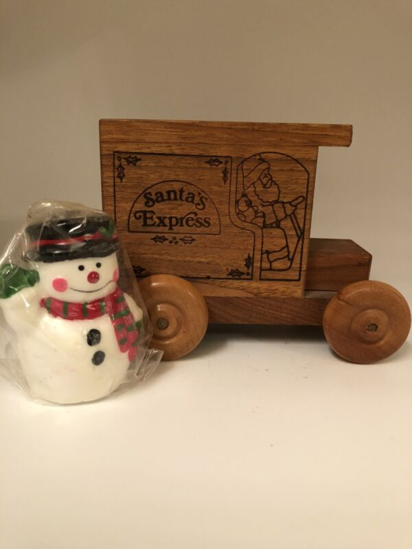 Vintage Santa's Express Wood Truck Bank Logomobile 1989 + Snowman Candle