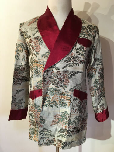 Vintage Japanese Silk Smoking Jacket Robe 1950