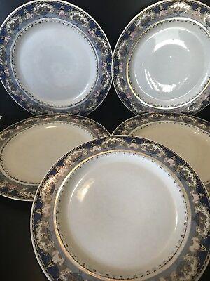 Black Rimmed Dinner Plate - Rare 5 Set Black Knight Dinner Plates Fruit Baskets Pink Roses Blue Rim