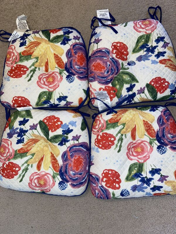 (4) Pioneer Woman Celia Floral Quilted Reversible Chair Pad Cushion RARE LIN