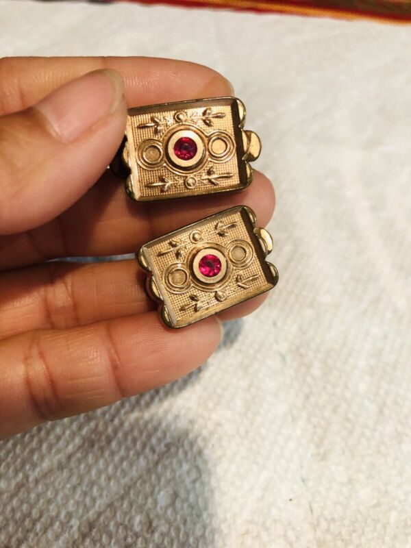 Vtg Marked APLFOR - PATENT VICTORIAN ANTIQUE GOLD FILLED CUFF BUTTONS LINKS