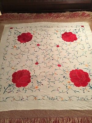 RARE ANTIQUE EARLY to MID 20th c CHINESE CANTONESE EMBROIDERED SILK PIANO SHAWL!