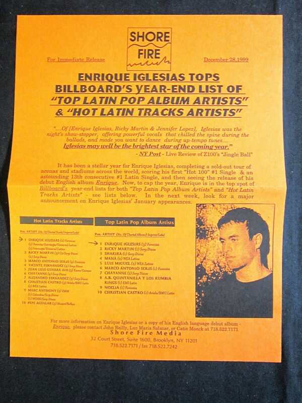 ENRIQUE IGLESIAS—1999 PRESS RELEASE