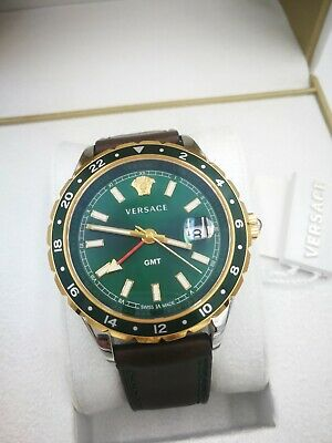 Versace HELLENYIUM GMT Green Luxury Mens Swiss V11090017 Dress Watch 1Y Warranty