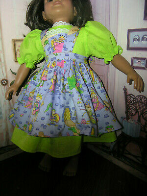 Green Dress Fairy Tale Print Apron 2 piece Dress 23