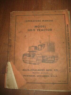 Allis Chalmers Hd9 Crawler Dozer Operators Owners Manual