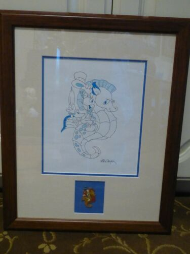 Original Disney art Jiminy Cricket on a Seahorse w/matching PIN by Mike Royer