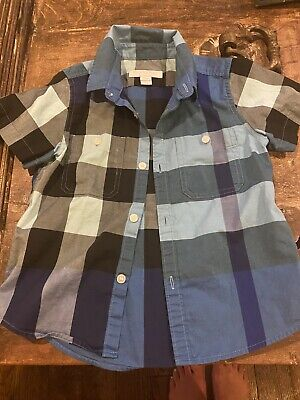 Pre-owned BURBERRY Children, Short Sleeve Blue check button down shirt 4Y