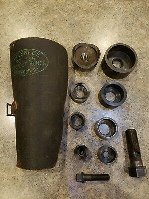 Vintage Greenlee Knockout Punch Set 735 Leather Case