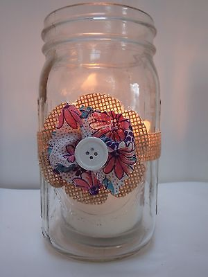 6 Burlap Pink Purple Fabric Mason Jar Candle Centerpiece Wedding Decorations M6 (Burlap Centerpieces)
