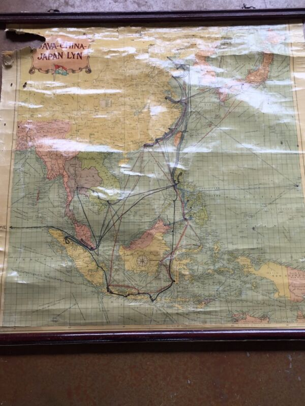 Antique Java China Japan Lyn Map Admiral Denebrink WW I II Nautical Wall Chart
