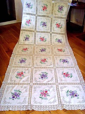 STUNNING VINTAGE LARGE FLORAL HAND EMBROIDERED TABLECLOTH LACE NEARLY 3 METERS