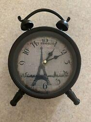 "Eiffel Tower Background Table Clock Rustic Farmhouse Clock 6""x6"""