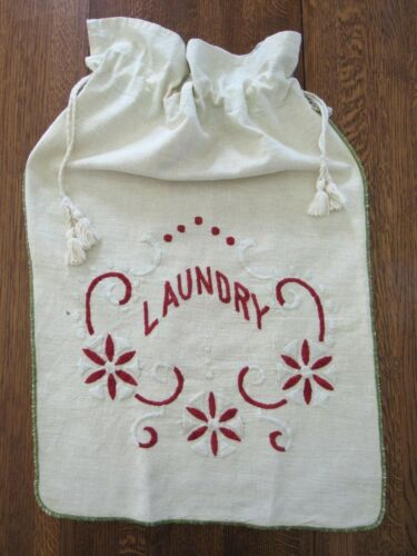 Antique Embroidered Linen LAUNDRY BAG Vintage 1930s or Earlier 17x27""