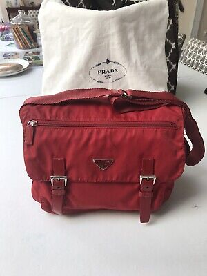 AUTH Prada Red Tessuto Nylon Leather Double Pocket Messenger Bag SEE DESCR.