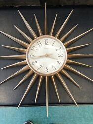 17 MID CENTURY EAMES ATOMIC CHANEY SUNBURST STARBURST WALL CLOCK RETRO
