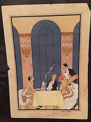 Pochoir Prints hand colored interior illustrations french fashion 1920s plates