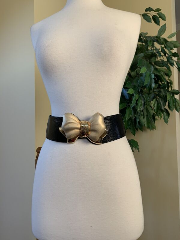 Judith Leiber Black Snakeskin Wide Belt Expandable Gold Bow Buckle Rare