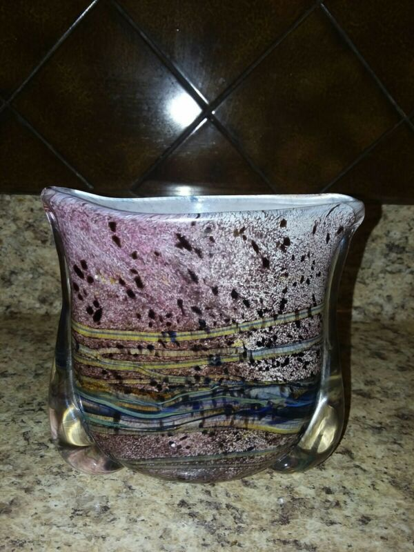 """Gozo Art  Glass Collection Hand Blown  Vase Original Tag   * MINT* 4 1/2"""" Tall"""
