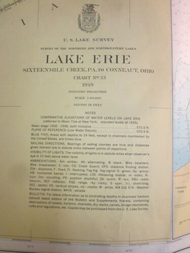 Army Corp Engineers Maritime Survey Chart Map  1949  Lake Erie Pa to Ohio  40x30