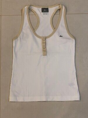 Lacoste Women White Low Crew Neck Tank Top Size 36 Small