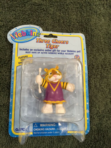 NEW Webkinz Ganz Three Cheers Tiger Figure with Feature Code Enclosed