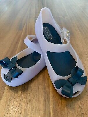 Mini Melissa UltraGirl Black Bow Mary Jane Tan/Cream Toddler SZ 9