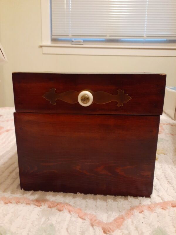 Vintage Wooden Jewelry Trinket Tobacco Box Chest Rustic FolkArt
