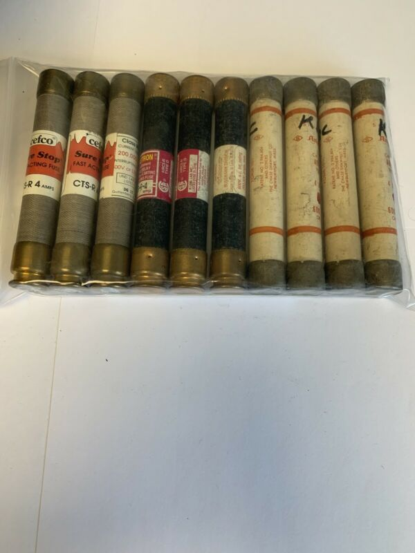 Lot Of 10 Assorted 4a 600v Fuses