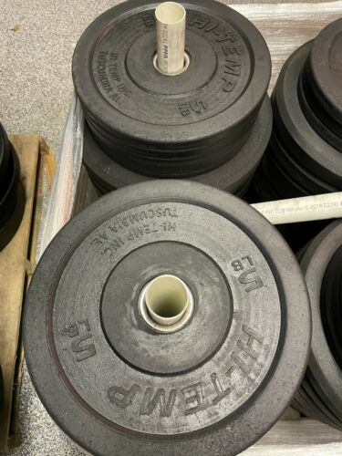 """Hi-Temp 2 x 5 lb bumper plates weights 14"""" New Free ship Solid Recycled Rubber"""