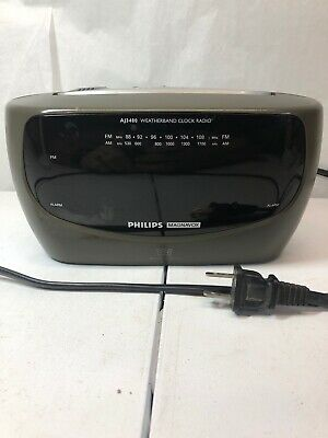 Philips Magnavox AJ3480 Dual Alarm Weatherband Clock Radio Big Display TESTED!