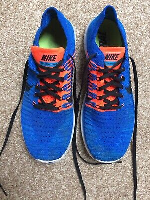 Nike Free RN Flyknit Blue/Orange Running Trainers UK 8 EU 42 Good condition