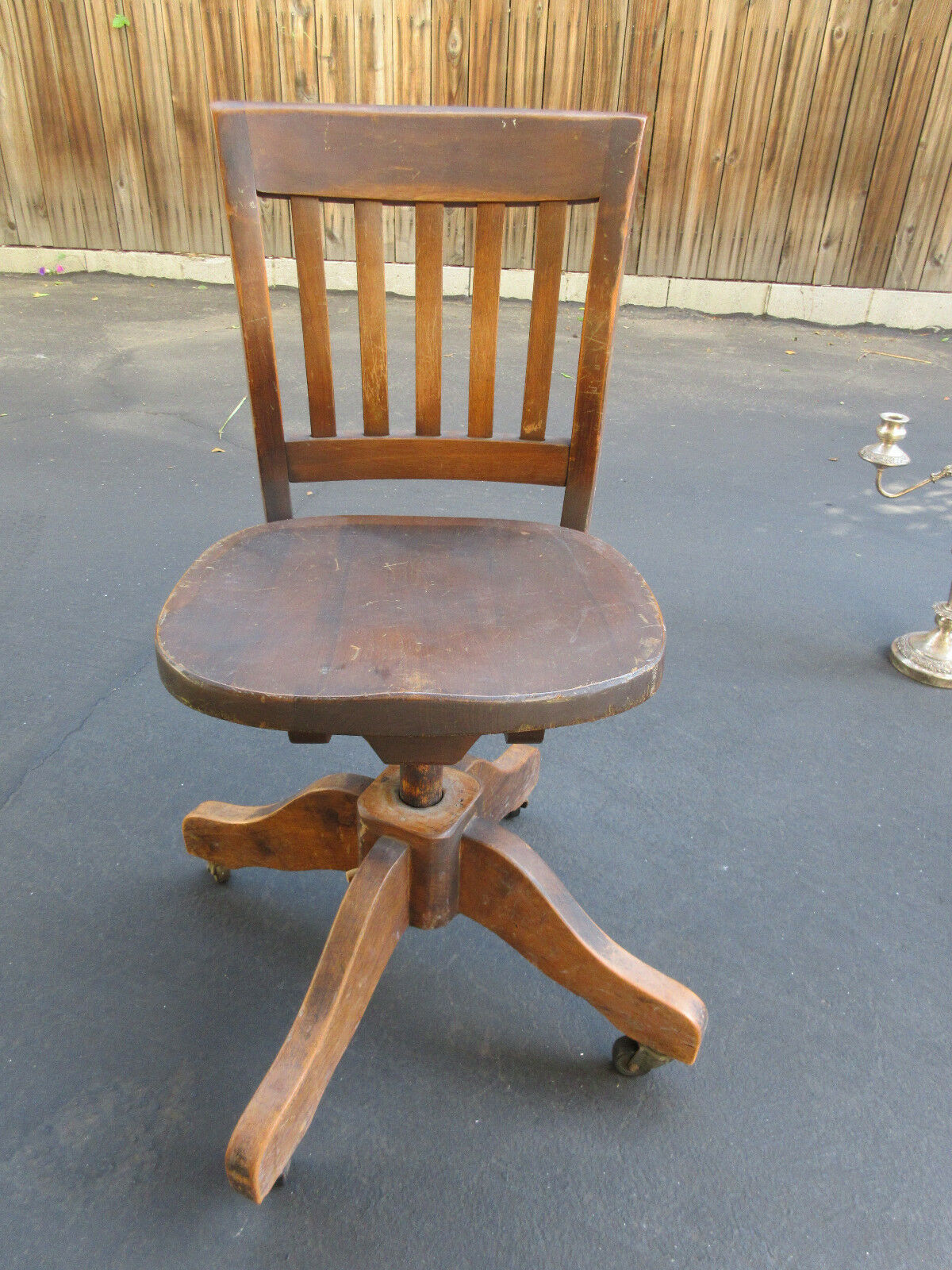 Collectible Antique solid Oak Art & Crafts Swivel Office Chair w/Casters