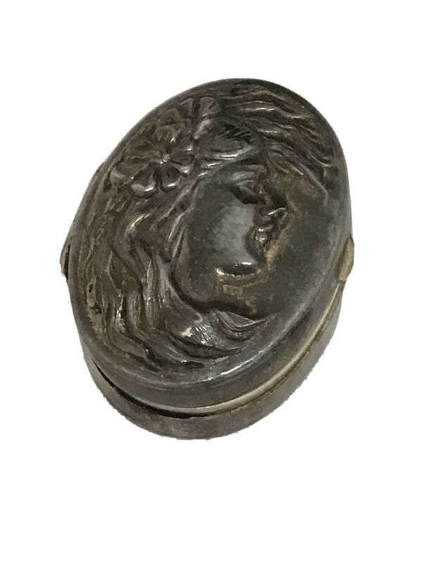MH STERLING SILVER VINTAGE CAMEO PILL BOX MINIATURE TRAVEL CARRY TRINKET 925