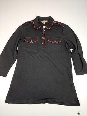 Womens Burberry Black Red 3/4 Sleeve Polo Shirt Lyocel Sz M    (Womens Red Burberry Polo)