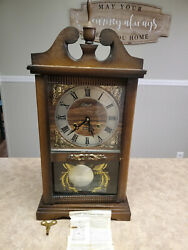 Vintage ~ELLIOTT Wooden Mantel / Wall Clock - Original Dial / Pendulum & Key~
